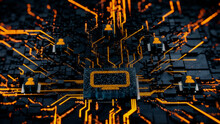 Display Technology Concept With Monitor Symbol On A Microchip. Orange Neon Data Flows Between Users And The CPU Across A Futuristic Motherboard. 3D Render.