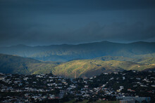 Landscape Looking East Over The Wellington Suburb Of Miramar, With The Remutaka Forest Park Mountains In The Background. New Zealand