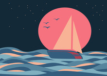 Landscape Abstract Boho With Sailboat At Sea. Aesthetic Minimal Nature Background With Sun, Starry Sky, Moon, Ocean. Print Silhouette Style Flat For Wall Decor In The Room.