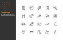 Set Of Food Delivery Thin Line Icons, Reataurant