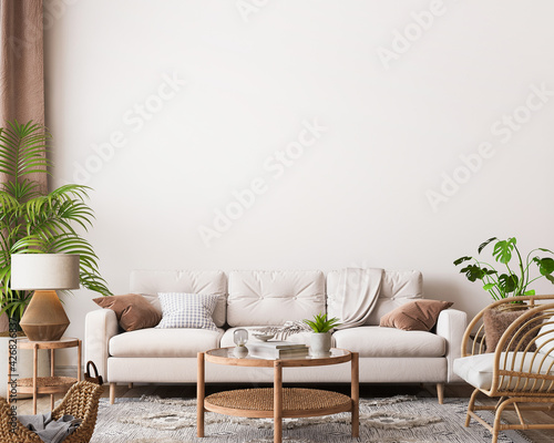 Fototapeta farmhouse interior living room, empty wall  mockup in white room with wooden fur