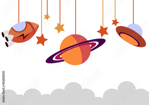 Fotografie, Obraz outer space background with uvo, saturn planet, rocket and scattered stars