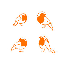 Cartoon Bird Icon Set. Different Poses Of Robin Bird. Vector Illustration For Prints, Clothing, Packaging, Stickers.