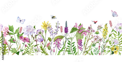Watercolor seamless border with wildflowers, bumble bees, butterflies and lady bugs Fotobehang