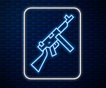 Glowing Neon Line Thompson Tommy Submachine Gun Icon Isolated On Brick Wall Background. American Submachine Gun. Vector