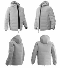 3D Jacket Of Warm Template For Design On White Background