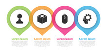 Set Stamp, Isometric Cube, Computer Mouse And Human Head With Gear Inside. Business Infographic Template. Vector