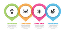 Set Paw Print, Crab, Turtle And Swan Bird. Business Infographic Template. Vector
