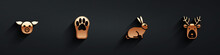 Set Pig, Paw Print, Rabbit And Deer Head With Antlers Icon With Long Shadow. Vector