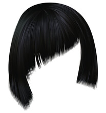 Trendy Hairs Brunette Black Colors . Asymmetrical Kare With Oblique Bangs . Beauty Fashion