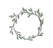 Vector Illustration Of Hand Drawn Graceful Leafy Wreath. Ink Drawing, Wild Nature Elements, Graphic Style. Beautiful Wedding Or Greetings Design Element