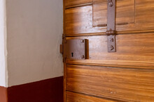 The Lock On The Prison Cell Door. Interior Of An Old Russian Prison.