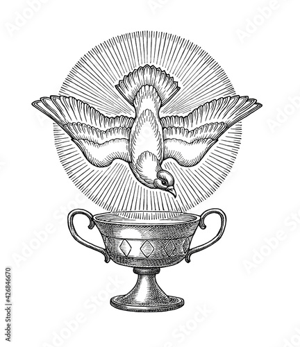 Stampa su Tela Hand drawn illustration, the dove of the Holy Spirit and the holy grail