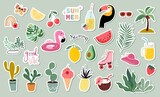Summer stickers collection with different seasonal elements