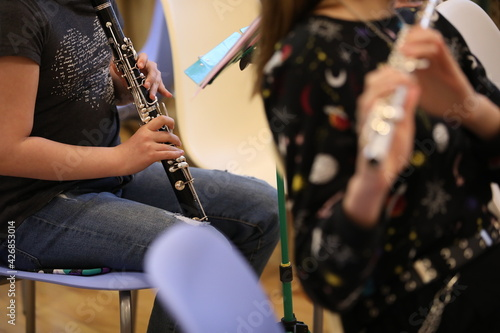 Fotografie, Tablou Young musicians girls playing musical instruments flute clarinet with notes sitting on a chair in the classroom at the class of the school orchestra