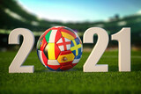 Euro 2021. Soccer Football ball with flags of european countries on the grass of football stadium.