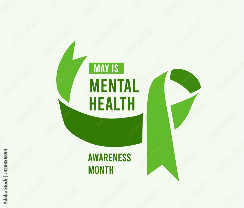 Obraz Mental Health Awareness Month vector illustration with green ribbon fototapeta, plakat