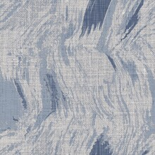 Seamless French Farmhouse Woven Linen Mottled Texture. Ecru Flax Blue Hemp Fiber. Natural Pattern Background. Organic Ticking Fabric For Kitchen Towel Material. Pinstripe Material Allover Print