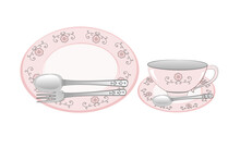 Sweet Pink Kitchen Household Cutlery Teacup And Plate With Spoon. Isolate On White Background.Style Vintage.