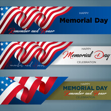 Set Of Web Banners Design, Background With  Handwriting Texts, Medal Of Honor, Army Helmet And National Flag Colors For U.S. Memorial Day Event, Celebration; Vector Illustration