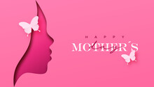 Mother's Day Pink Woman Face Paper Cut Card