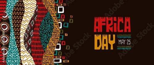 Fotografia Africa Day banner colorful tribal art decoration