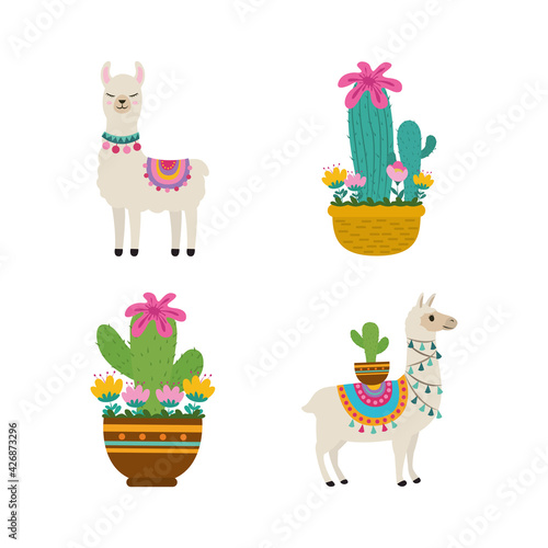 Fototapeta premium cute llama cactus