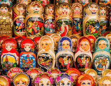 Row Of Colorful Traditional Matryoshka Dolls, Moscow, Russia