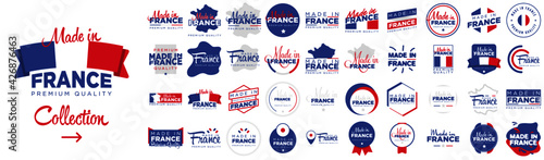 Fotografie, Tablou Collection of badge logotype of Made in France with ribbon and flag on white bac