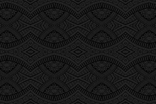 Geometric Volumetric Convex Black Background. Ethnic African, Mexican, Indian Motives. Doodling Style. 3D Relief Figured Horizontal Pattern.