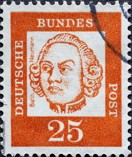 Fotografering GERMANY - CIRCA 1961: a postage stamp from Germany, showing a portrait of the im