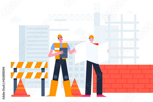 Fototapeta Engineering and construction concept. Building work process, houses and construction machines. Unfinished constructio, new project. Engineer, foreman, or construction worker. Vector illustration. obraz na płótnie