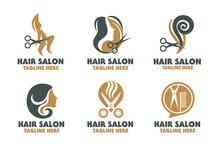 Hair Salon Logo Design. Beauty Salon, Hair Salon, Cosmetic Or Spa Studio Brand Logotype Emblem. Glamour Icon. Hairstyle Sign. Modern Style Concept. Vector Illustration.