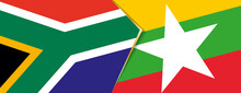 South Africa And Myanmar Flags, Two Vector Flags.
