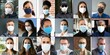 canvas print picture Diverse People Group Wearing Face Mask