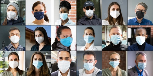 Diverse People Group Wearing Face Mask
