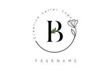 Creative Initial Letter B Logo With Lettering Circle Hand Drawn Flower Element And Leaf.