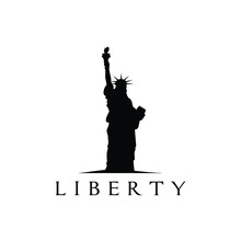 Liberty Statue Silhouette Logo Design Vector Illustration