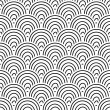 Abstract Striped Fish Scale Seamless Pattern. Ornamental Tile, Mosaic Background. Arch Infinity Card.