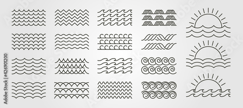 Fotografia set bundled wave icon logo vector minimal illustration design, line art wave pac