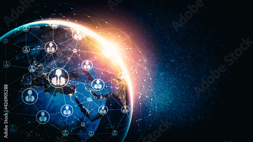 Obraz People network and global earth connection in innovative perception . Business people with modern graphic interface linking many people around world by social media . 3D illustration . - fototapety do salonu