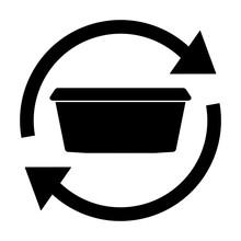 Ngi1208 NewGraphicIcon Ngi - German - Mehrweg Pfand Behälter Für Take-away Und To-go Essen / Restaurant . English - Returnable Deposit Container For Take Away And To Go Food . Circle Arrow - G10464