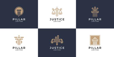 Set of minimalist justice and pillar logo design
