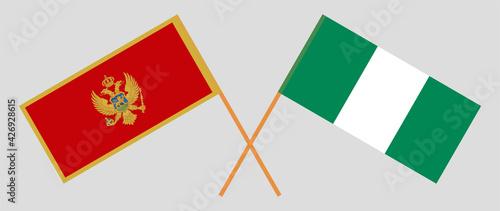Foto Crossed flags of Montenegro and Nigeria