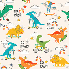 Seamless Pattern With Cute Funny Dinosaurs Riding Skateboard, Scooter And  Bicycle On Light Background With Clouds, Rainbow, Stars, Lightning  And Hand Drawn Text.
