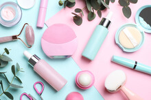 Flat Lay Composition With Different Skin Care And Makeup Products On Color Background