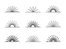 Isolated Simple Retro Monochrome Sunray, Sunshine, Beam Lines, Sunburst, Rays In A Half Elements For Background, Pattern, Banner, Label, Texture Etc. Vector Design.