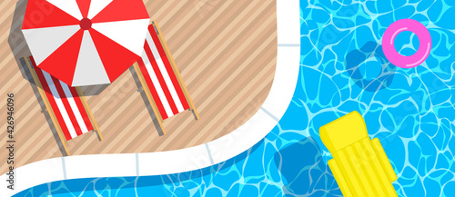 Fotografie, Obraz swimming pool inflatable  mattress and ring umbrella  loungers top view