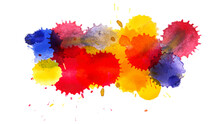 Multi Colored Ink Blots Isolated On White Background. Overlay Effect. Vector Illustration