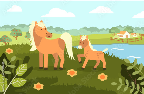 Fotografia A horse with a foal on the background of a rural landscape in a flat style